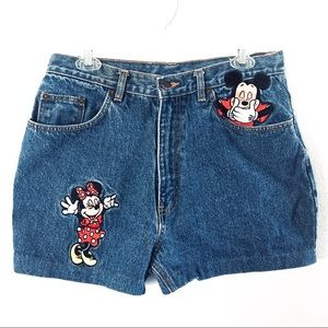 Embroidered High Rise Shorts - Mickey & Minnie